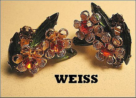 ... Vintage Signed Earrings Weiss Orange/Topaz Rhinestone Floral Gold Tone