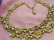 Signed Trifari Set Bridal Necklace & Bracelet Bridal Gold Tone, Rhinestone Bows