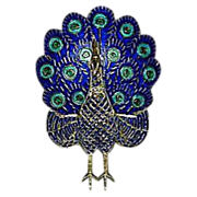 Rare Sterling Silver 925 & Enamel Hinged Blue Peacock Bird Figural Brooch/Pin