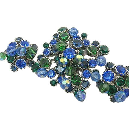 Vintage Signed Kramer NY Blue-Green Rhinestone Set Brooch/Pin & Earrings