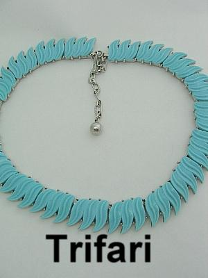 Signed Trifari Necklace Aqua Blue & Silver Tone Vintage Leaf