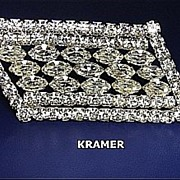Vintage Signed Brooch/Pin Bridal Kramer Sparkling Rhinestone Framed Stepped