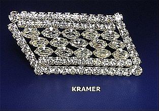 Vintage Signed Brooch/Pin Bridal Kramer Sparkling Rhinestone Framed Stepped