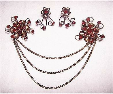 Vintage  Gold Filled Red Faux Red Garnet Flower Chatelaine Brooches/Pins  & Earrings SET Demi-Parure