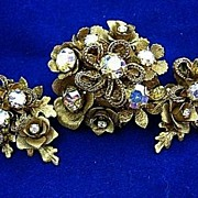 Vintage Signed Kramer SET Antiqued Brooch/Pin & Earrings Gold Tone Aurora Borealis