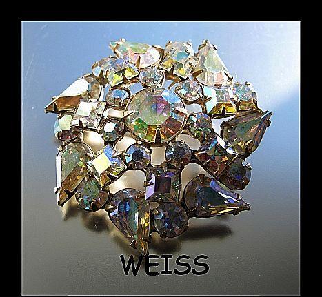 Signed Brooch/Pin Weiss Glitzy Rainbow Aurora Borealis Vintage Rhinestone Domed