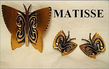 Designer Signed Matisse Renoir Copper Butterfly Demi-Parure Pin & Earrings SET
