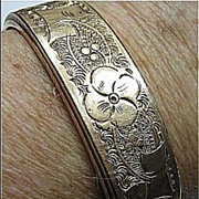 Victorian Engraved Gold Tone Small Size Bangle Bracelet