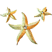 Signed Weiss Vintage Enamel Wash Rhinestone Starfish Brooch/Pin & Earrings Set