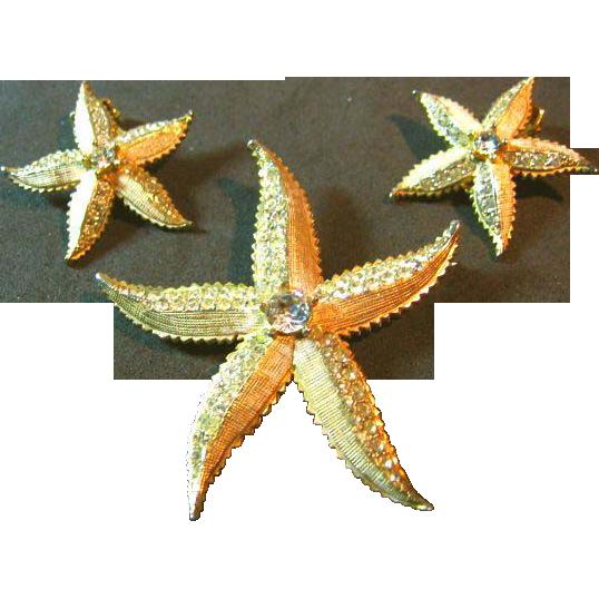Signed Weiss Vintage Enamel Wash Rhinestone Starfish Brooch/Pin & Earrings Set