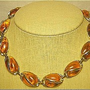 Vintage Necklace Signed Coro Unusual Faux Amber Marbleized Lucite & Gold Tone