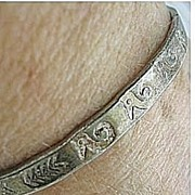 "Sterling Silver 925 Native American Big 8"" Engraved Bangle Bracelet"