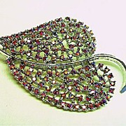 "Signed Dodds Big 3 ½"" Red Aurora Borealis Showy Rhinestone Leaf Brooch/Pin"