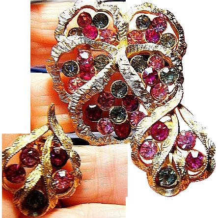 Vintage Signed Coro Pansy Flower Earrings/ Brooch/Pin Rhinestone Flower SET Gold Tone
