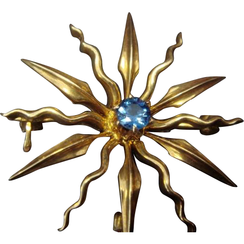 """Sunny"" Art Nouveau Brooch/Pendant with Sapphire in 14K Gold"