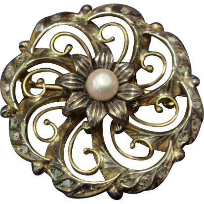 Victorian Pearl Brooch, with Rose Cut Diamonds in 14K Gold and Silver