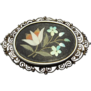 Lovely Intarsia Brooch in 800 Silver