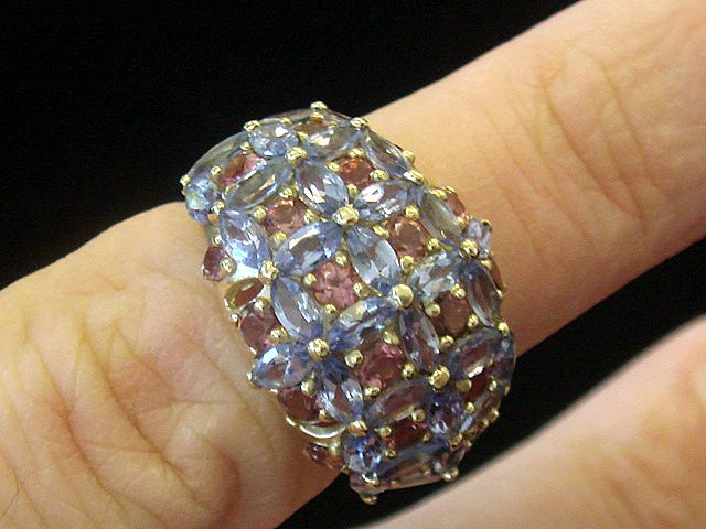Tanzanite and Tourmaline 14K Gold Ring