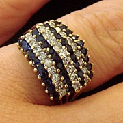 Uniquely Shaped Sapphire and Diamond Cocktail Ring