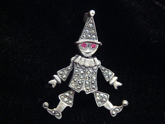 Jolly Clown Marcasite and Sterling Silver Pin