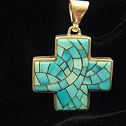 Turquoise and Sterling Silver Cross Pendant, c1950's