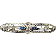 Edwardian Brooch with Sapphires and Diamonds, 14K Gold