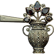 Adorbs! Sterling, Marcasite, and Garnet Flower Pot Brooch