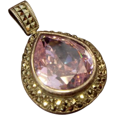 Bold Lilac CZ and Marcasite Pendant, in SS