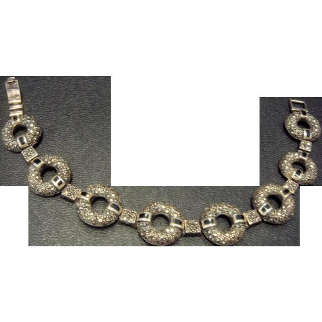 Marcasite and Onyx Circle Bracelet