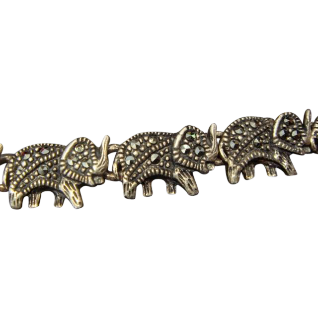 Happy Elephants in Marcasite and SS