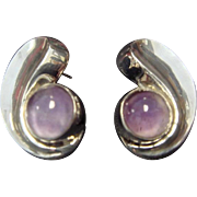 1960's Taxco Sterling Amethyst Earrings
