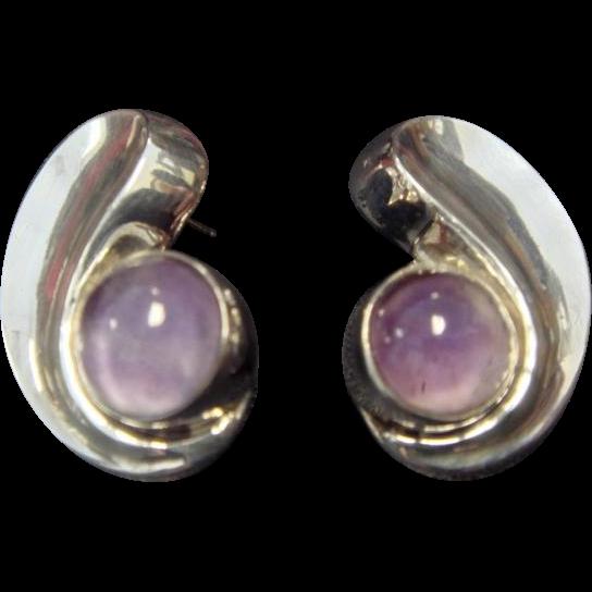 1960's Taxco Sterling Amethyst Earrings