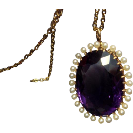 Victorian Fine Amethyst and Seed Pearl Pendant/Brooch