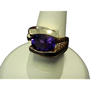 1980's Custom Fine Amethyst and Diamond Ring