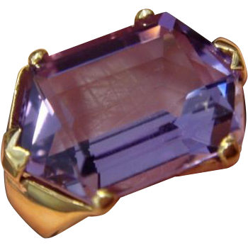 Unusual 1970's Hexagon Amethyst Ring,in 14K Gold
