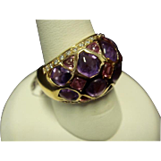 Amethyst, Tourmaline, and Diamond Ring in 14K Gold