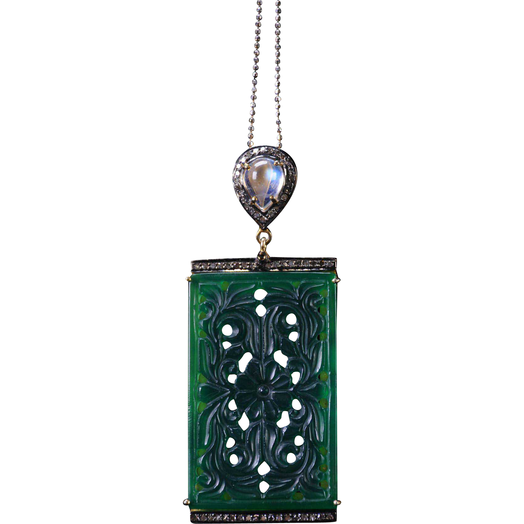 Unique Carved Green Onyx Pendant with Moonstone and Diamonds