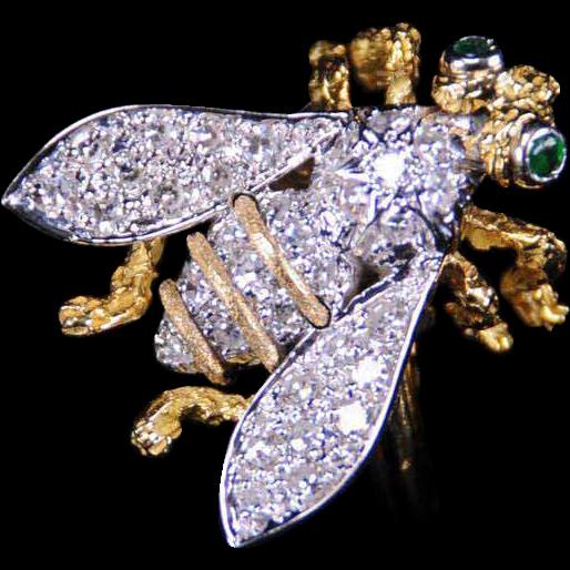 Sweet Honeybee Ring, 14K Gold and Diamond