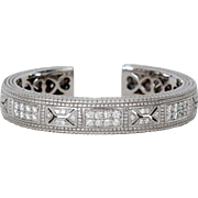 Stunning Retired Judith Ripka Cuff Bracelet, 18K White Gold and Diamond