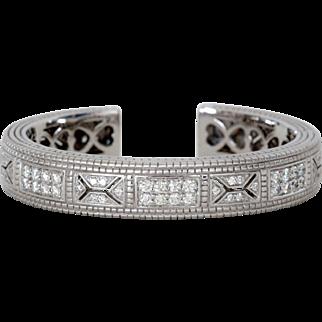 Stunning Retired Judith Ripka Cuff Bracelet, 18K White Gold and Diamond