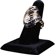 Custom Made Mod Diamond and Sapphire Ring, 14K
