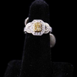 Classic Fancy Yellow and White Diamond Ring, 18K