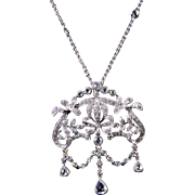 Fancy, Fetching Diamond Pendant and Necklace in 18K White Gold