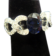 Elegant & Whimsical Sapphire and Diamond Ring in 18K Gold
