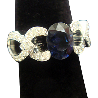Elegant & Whimsical Sapphire and Diamond Ring in 18K Gold