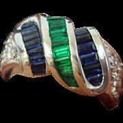 Emerald, Sapphire, & Diamond Ring in Platinum