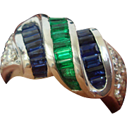 Emerald, Sapphire, & Diamond Ring in Platinum