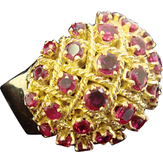 """""""Bursting With Rubies"""" Cocktail Ring"""