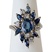 Unique 1960's Sapphire and Diamond Ring in 14K Gold
