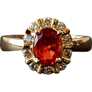 Fun Orange Andesine and Diamond Ring in 14K Gold